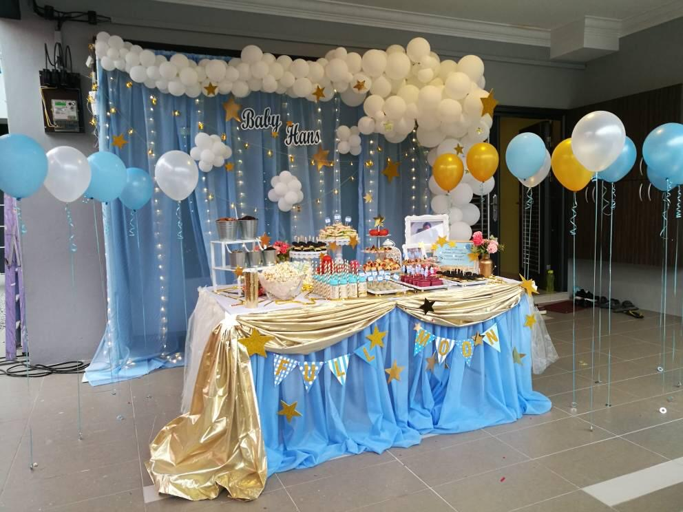 runningmen catering baby shower event footage beautiful backdrop decoration