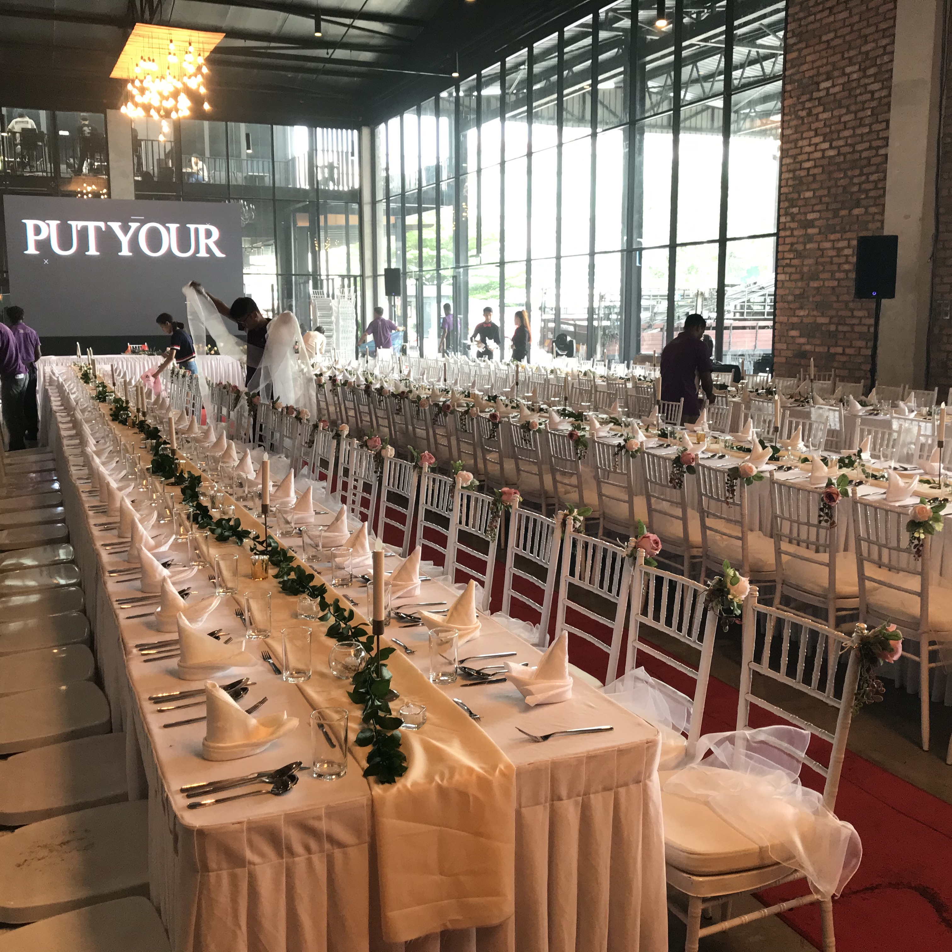 runningmen catering sit down menu event footage with table setting