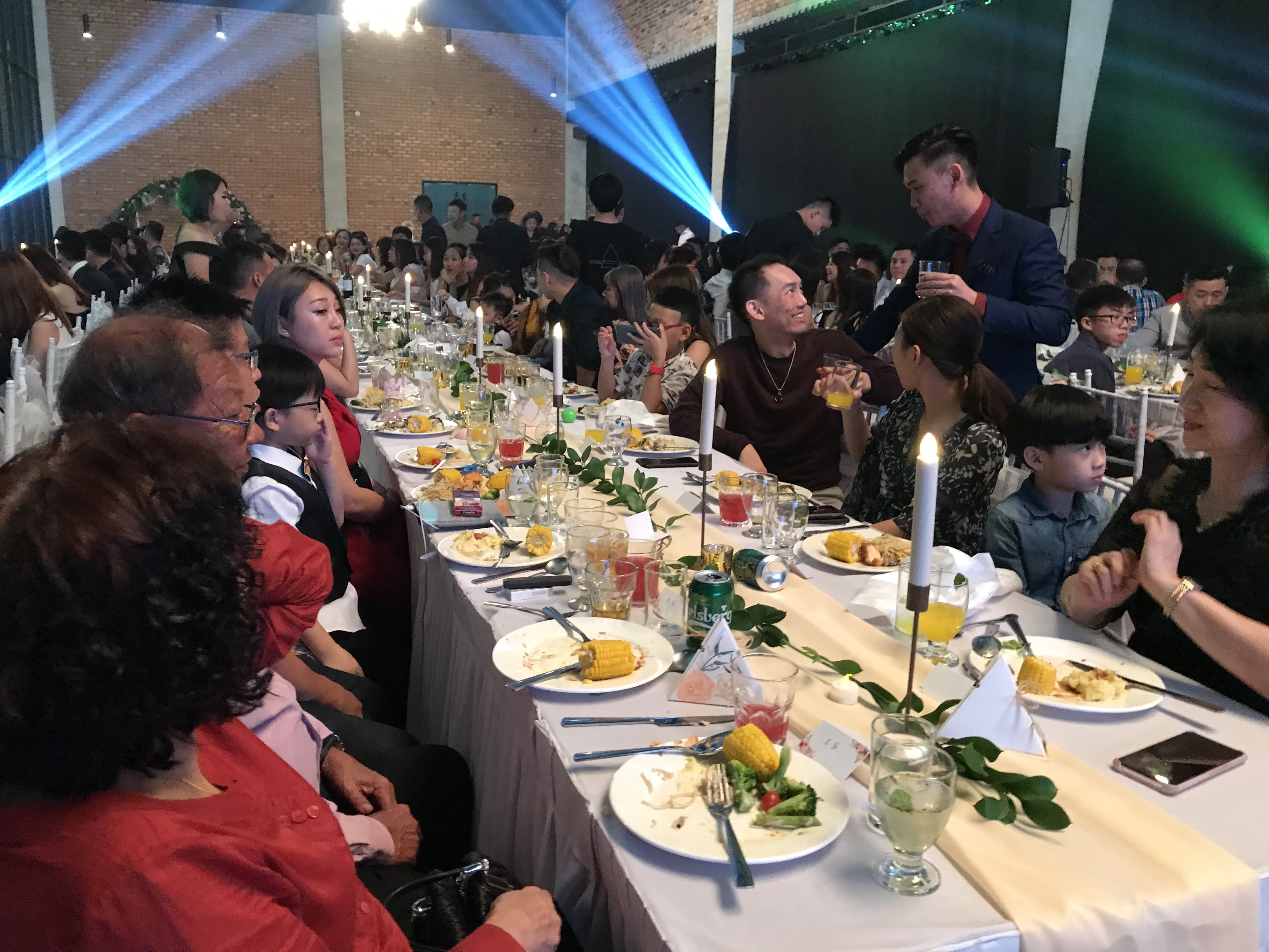 runningmen catering sit down menu event footage with people and lighting