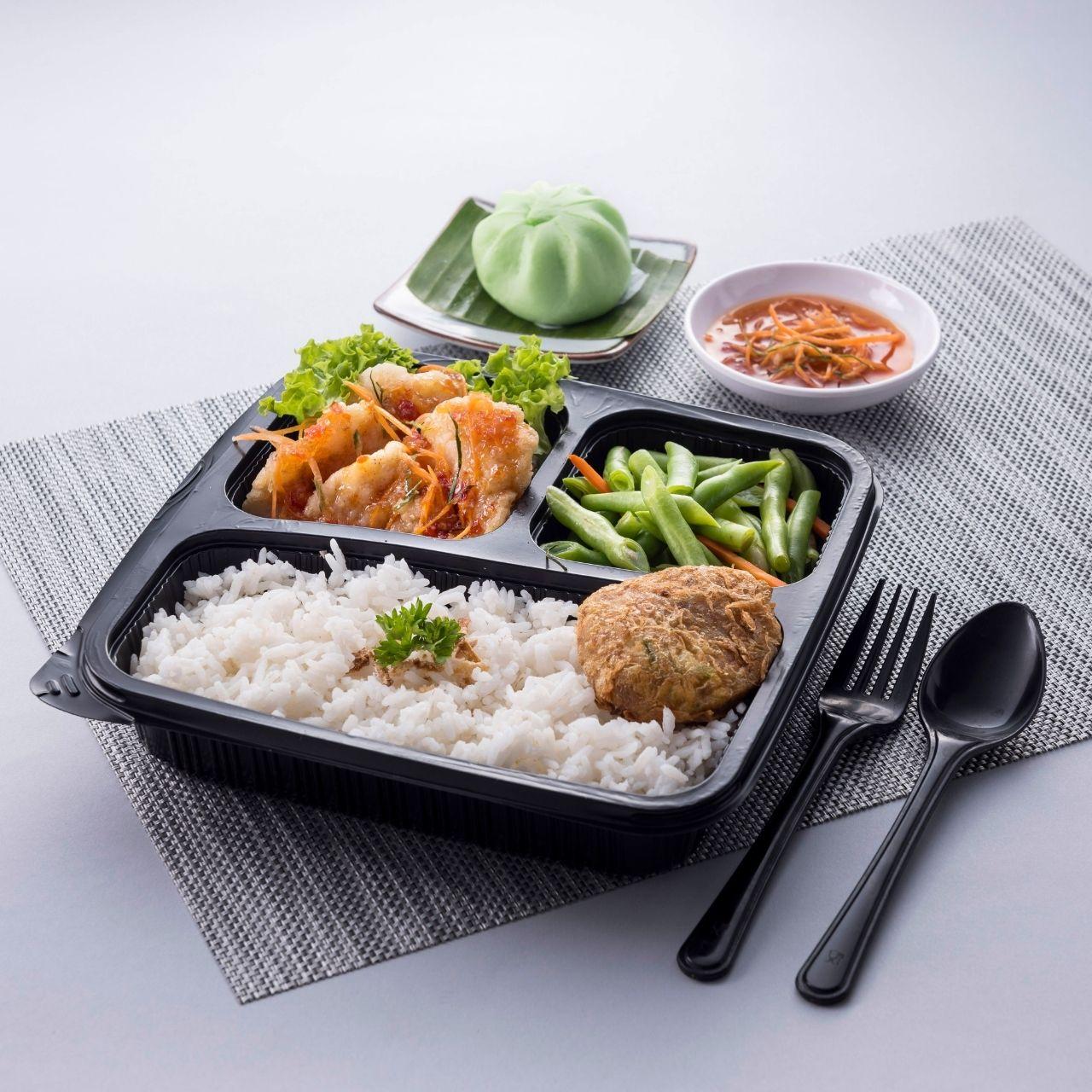 runningmen catering bento box nasi putih with thai fish