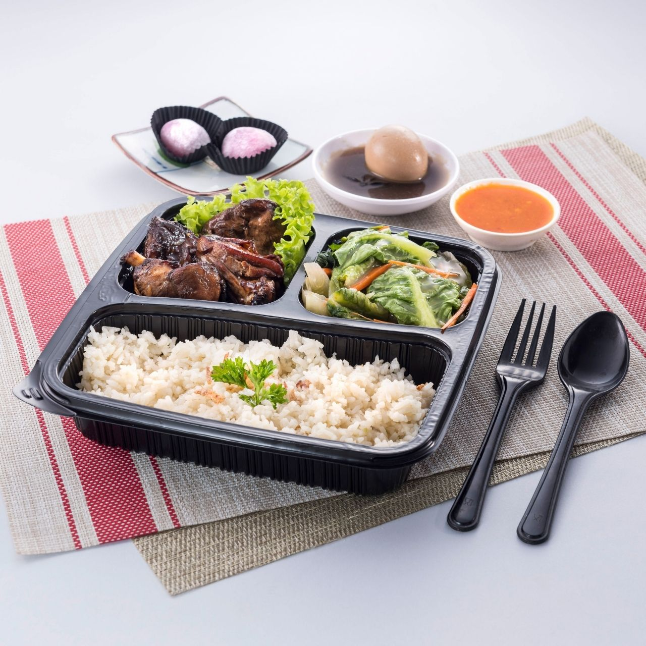 runningmen catering bento box butter rice chicken with roasted chicken