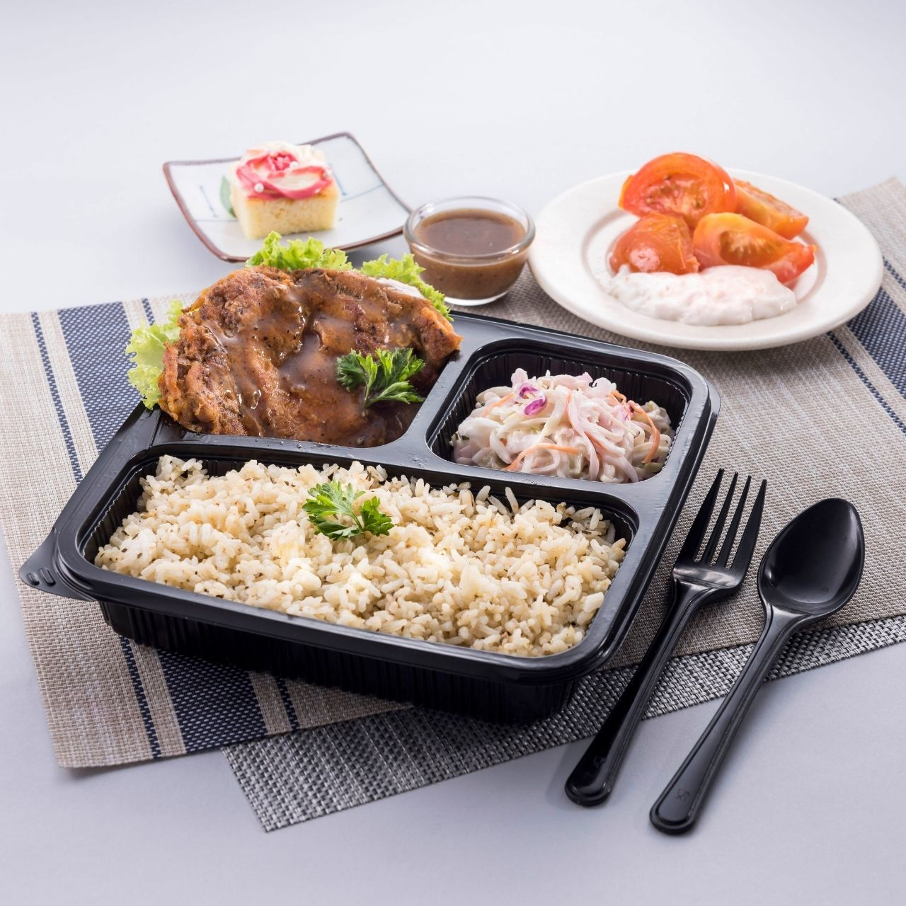 runningmen catering bento box butter rice with grilled chicken chop