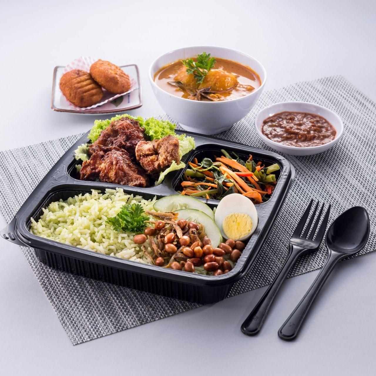 runningmen catering bento box nasi lemak pandan with ayam berempah