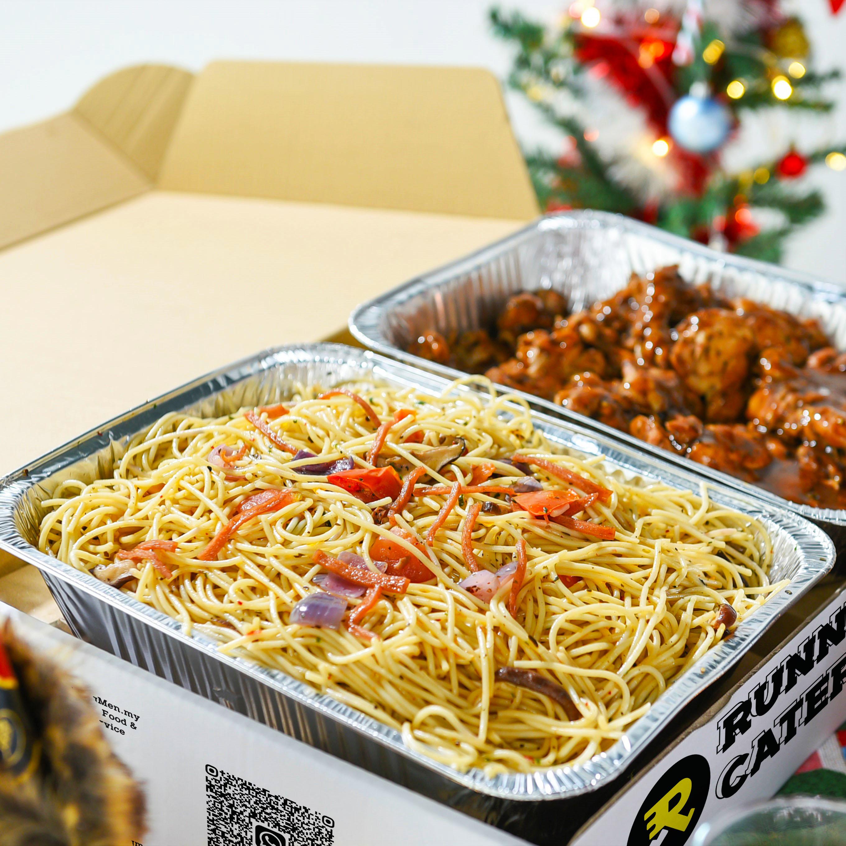 runningmen catering christmas 2020 spaghetti and chicken chop