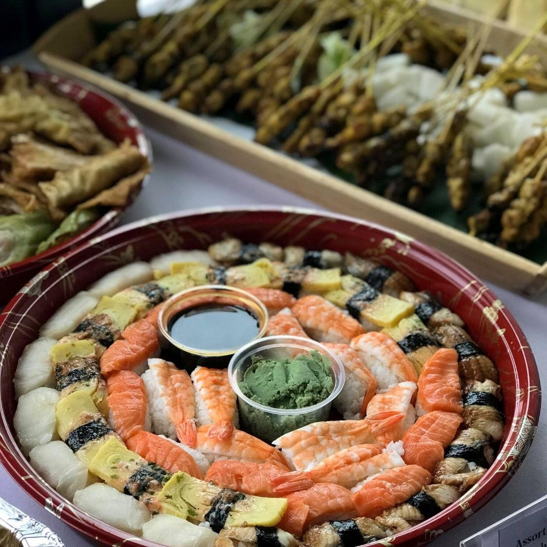 runningmen catering buffet food dish sushi platters