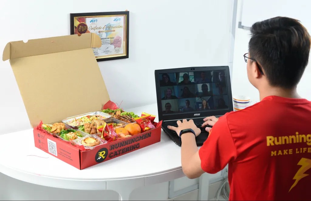 runningmen catering virtual party foodie box for corporate photo illustration