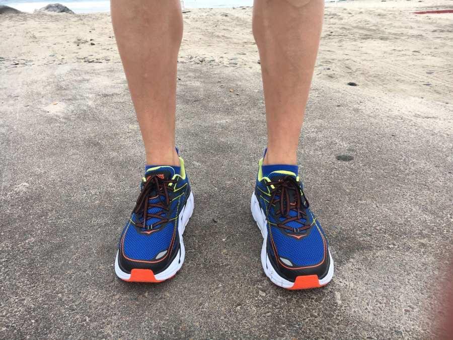 Hoka Clifton 3 On foot during a beach run