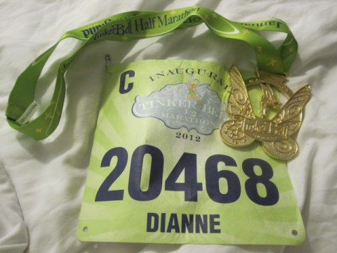 Disney medal with running bib from the 2012 Tinkerbell Half Marathon