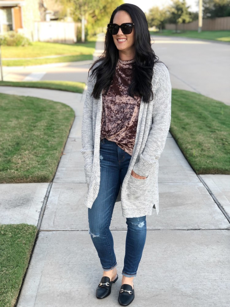 velvet trend, fall trends, easy fall outfit, layering