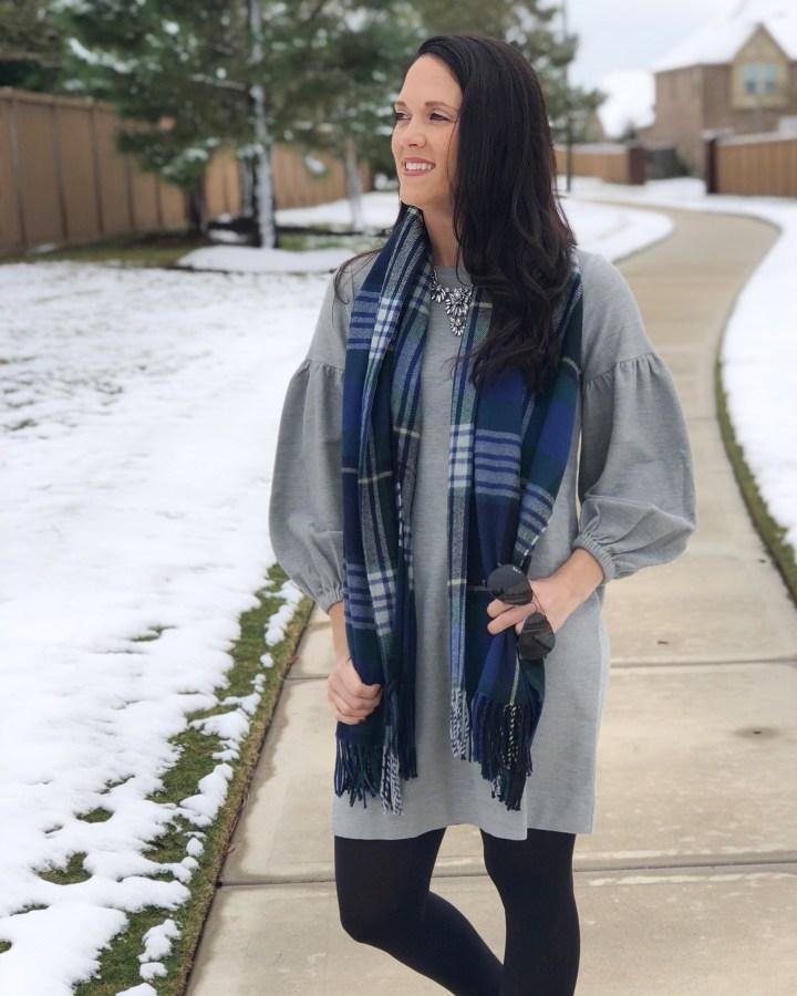 LOFT gray dress w:scarf