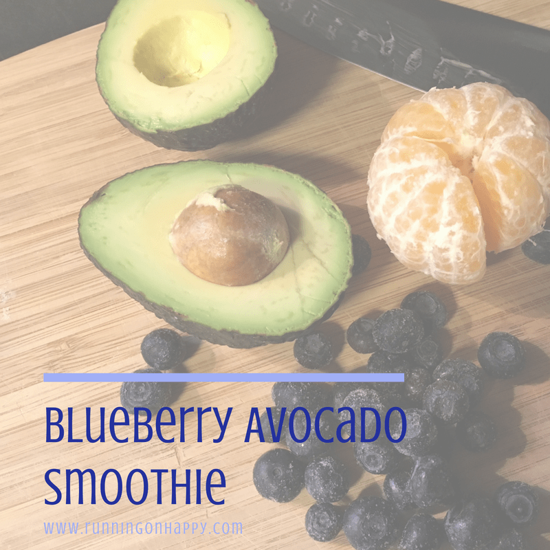 Blueberry Avocado Smoothie | Meatless Monday | Running on Happy