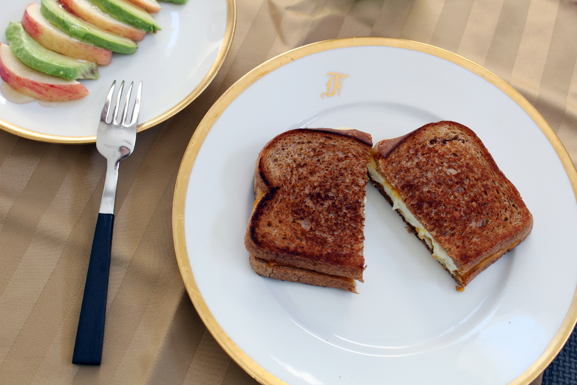 Grown Up Grilled Cheese with Avocado-Apple Salad   Running on Happy