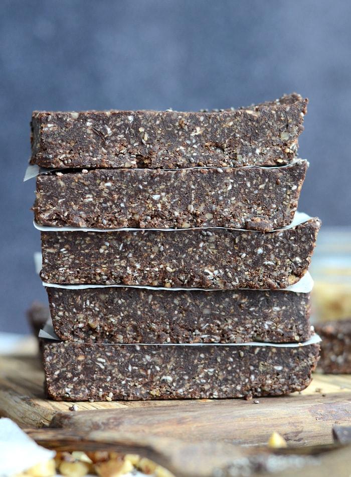 Chocolate Chia Energy Bars No Bake Vegan Delicious