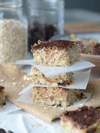 Healthy Vegan Date Banana Oat Bars with Coconut