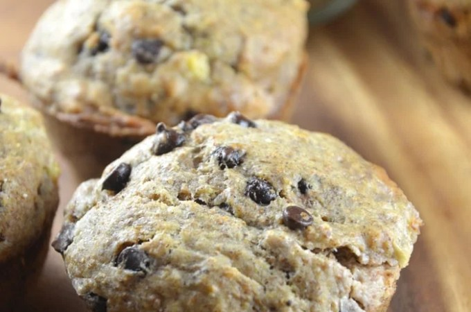 Vegan Chocolate Chip Banana Muffins with Almond Butter Filling