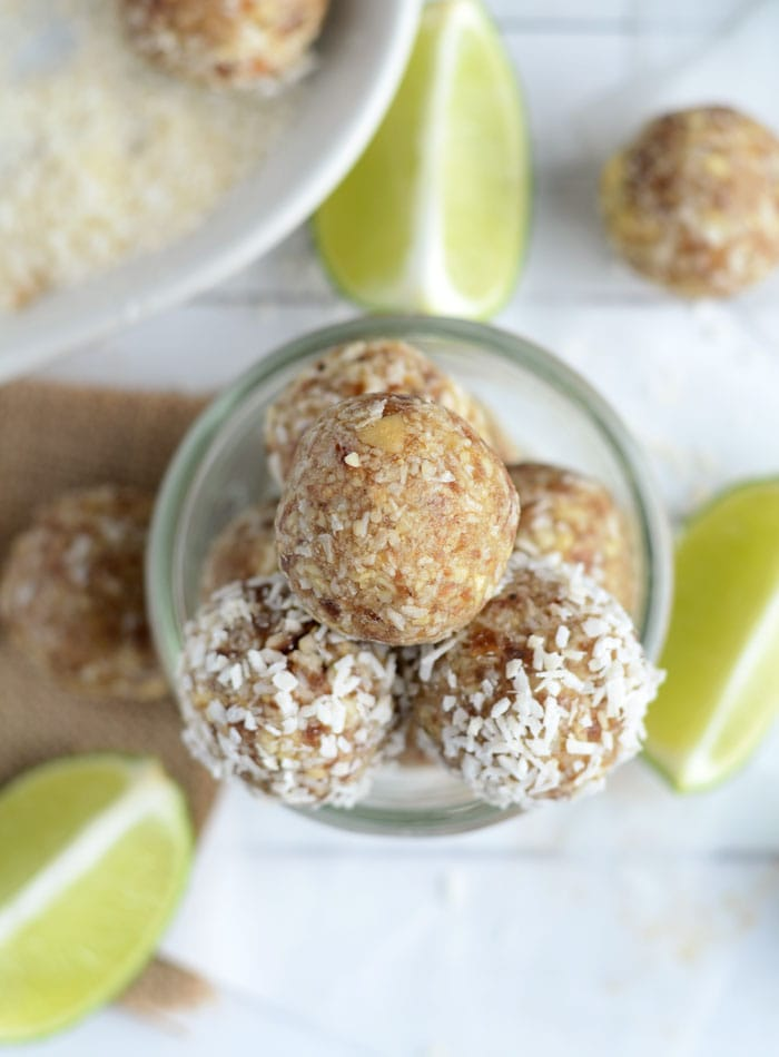 Lime Coconut Energy Bites Vegan Gluten Free No Added Sugar