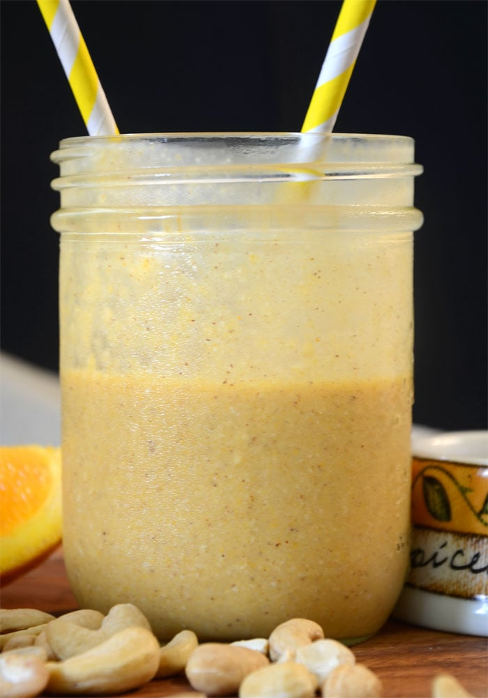 Vegan Orange Mango Smoothie for Recovery from Tough Workouts