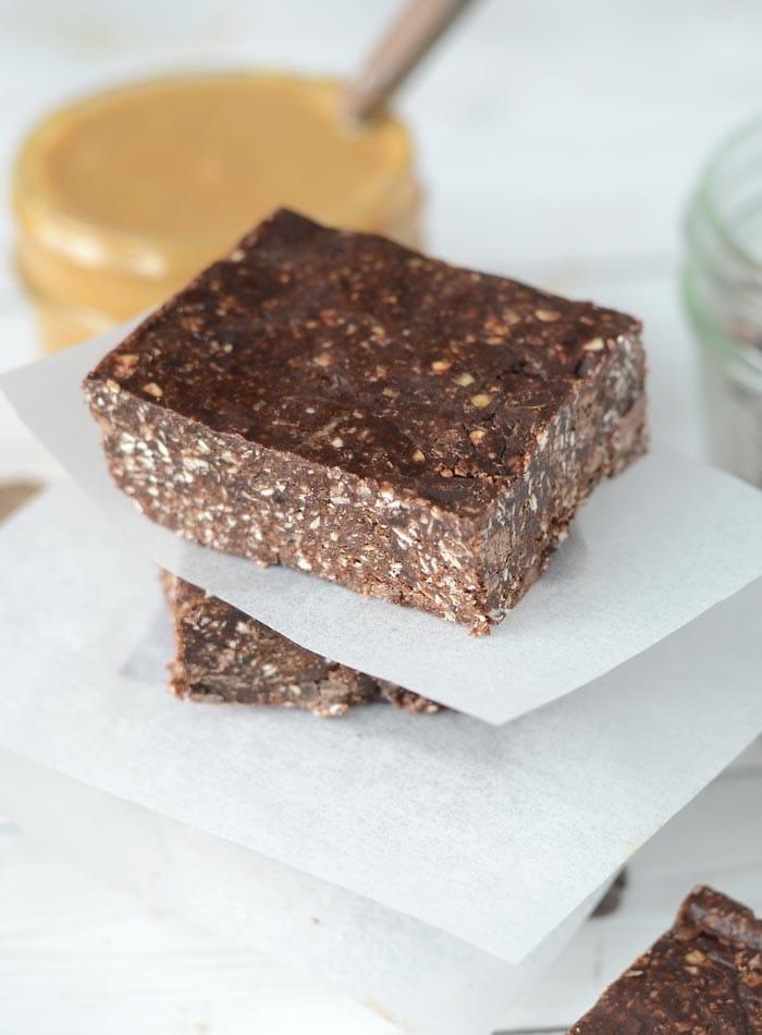 No-Bake Chocolate Peanut Butter Bars - Vegan + No Refined Sugar + Oil-Free + Gluten-Free