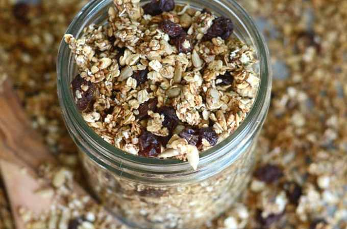 Cinnamon Raisin Healthy Homemade Granola