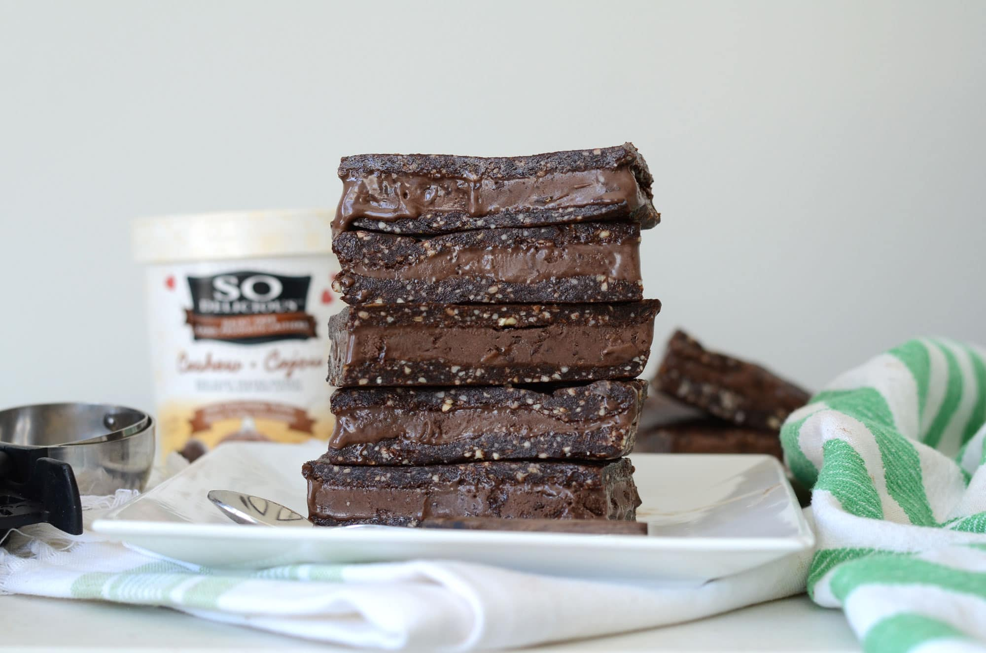Vegan Salted Brownie Frozen Dessert Sandwiches
