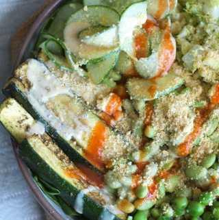 Broccoli Rice Green Buddha Bowl with Tahini and Vegan Parmesan   grain-free   running on real food