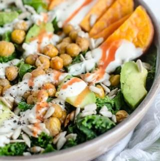 Roasted Chickpea Kale Salad with Avocado, Sweet Potato and Lemon Tahini Sauce