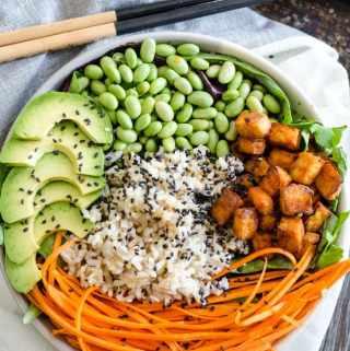 Sriracha Baked Tofu Brown Rice Bowls   vegan poke, gluten-free