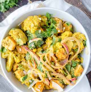 Vegan Roasted Curried Cauliflower Salad with Sweet Potato, Coconut and Cilantro   Gluten-Free