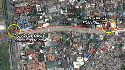 The pedestrian crossing in Taft Ave. was below LRT Line-1's EDSA Station so I had to make my crossing there.  I had to take a pit stop before crossing the flyover and proceeding to MoA.  This was the spot I got a 3 meter GPS accuracy.