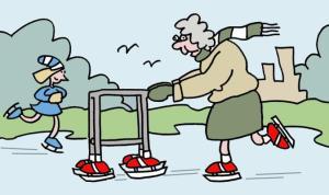 Ouderdom-cartoon-bejaarde-oma-met-ijsrollator-looprek