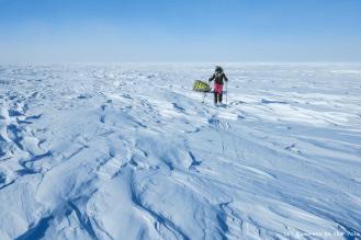 Tout semble si calme. Et pourtant, le vent balaie la glace. De face, il ralentit notre progression. La température ressentie est de l'ordre de -30°C