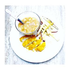 Zoete aardappelfrietjes, Appel-peer compote zonder toegevoegde suiker, kipschnitzel