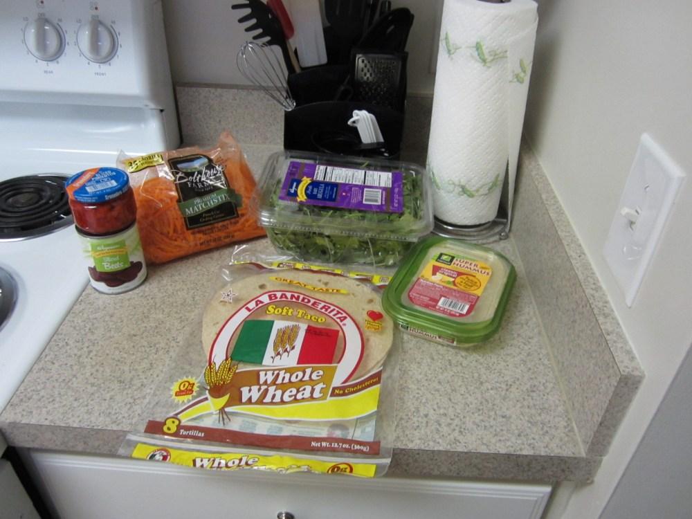 Easy work week lunch - Vegan Roasted Beet and Hummus Wrap (1/3)