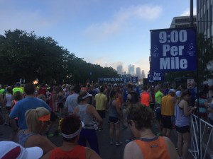 The starting line, looking towards downtown.