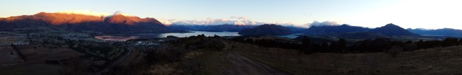 Looking over Lake Wanaka toward Treble Cone skifield