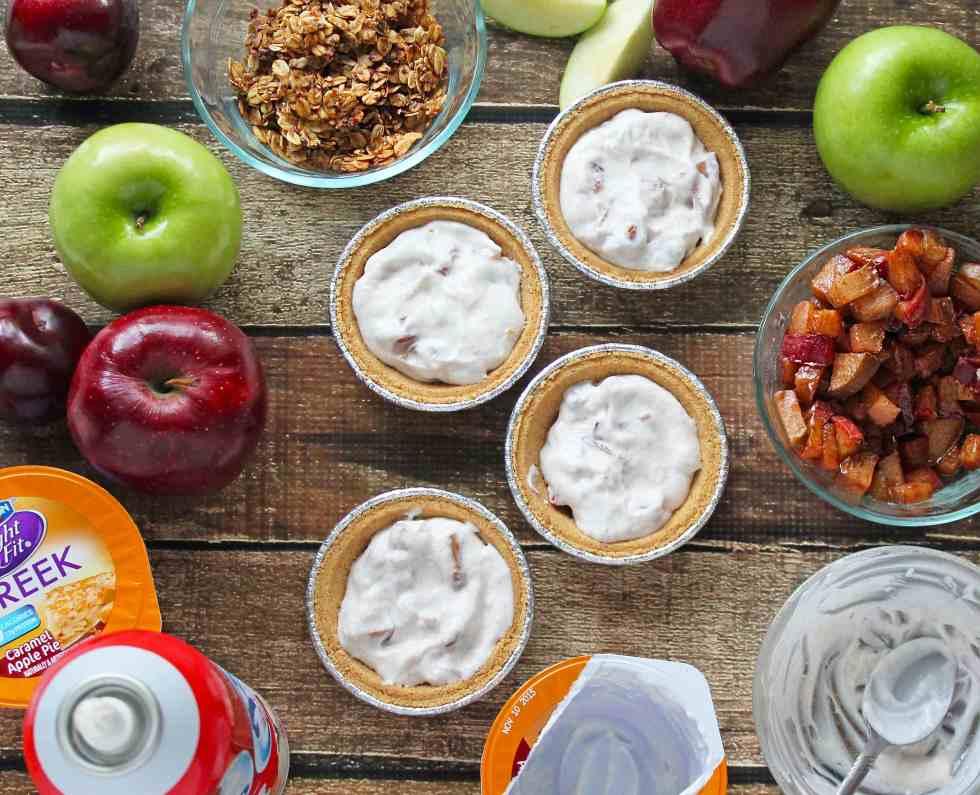 No Bake Apple Pie Yogurt Crumble Pies