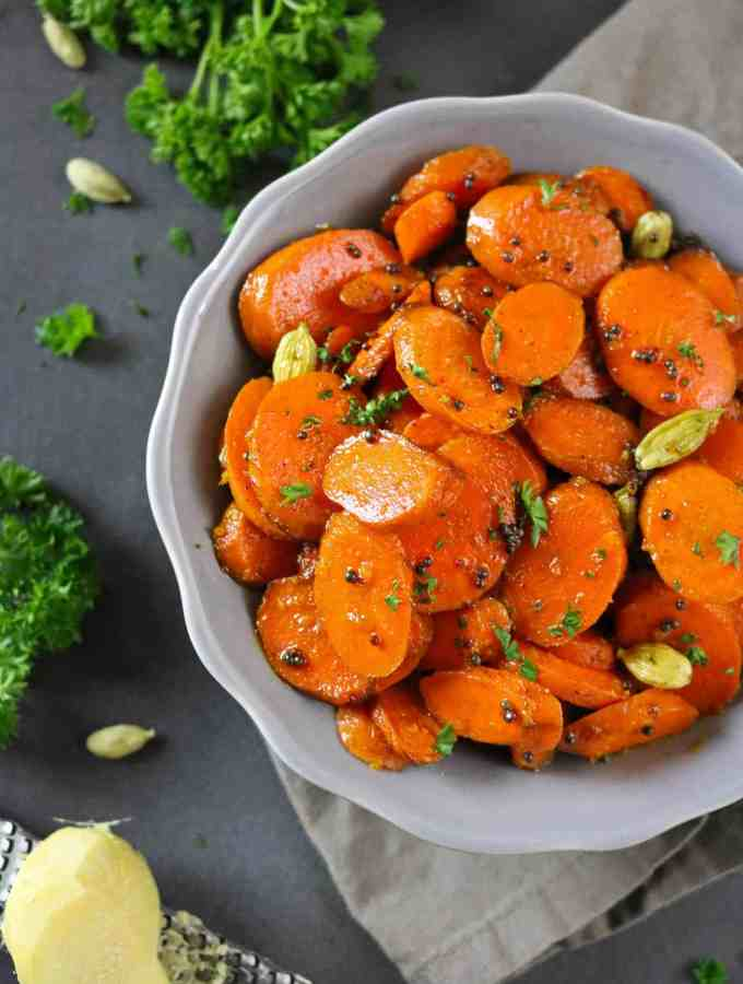 Ginger Cardamom Spiced Carrots