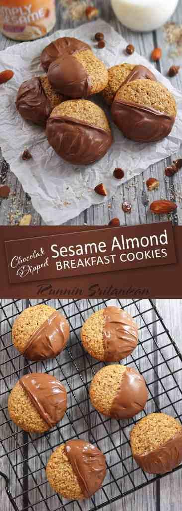 Chocolate Dipped Sesame Almond Breakfast Cookies