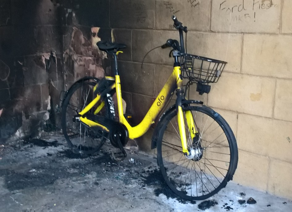 Burnt out Ofo bike as seen by Runnorfolk blogger Shaun Lowthorpe