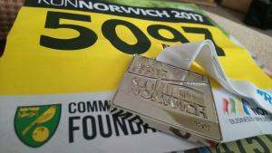 Victoria Leggett's Run Norwich medal