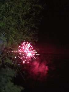 Fireworks during the national anthem