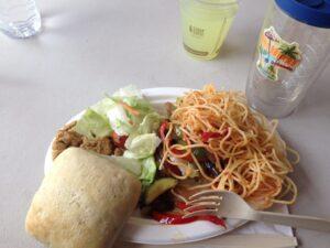 Dinner consisted of Pasta, Veggies, Frozen Bread, Salad, a Cookie & Lemonade