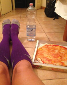 Margarita Pizza, Aqua Naturale & my fav purple Procompression socks - a prerace ritual