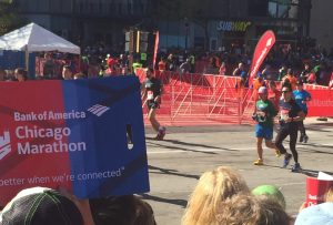 Sean at the the final turn mile 26 - BOA Cheer Zone