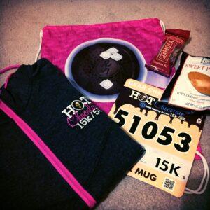 Hot Chocolate 15k, Road Race, Race Swag, Goodie Bag, race bib, Phoenix, Scottsdale, Arizona