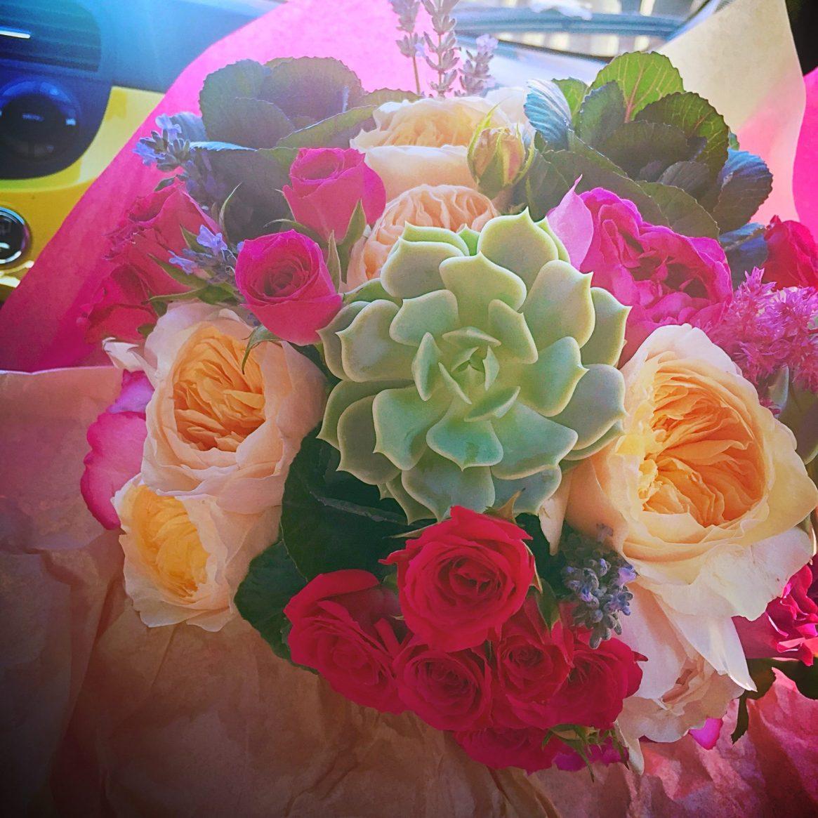 a.hana design, wedding bouquet, succulents, garden roses
