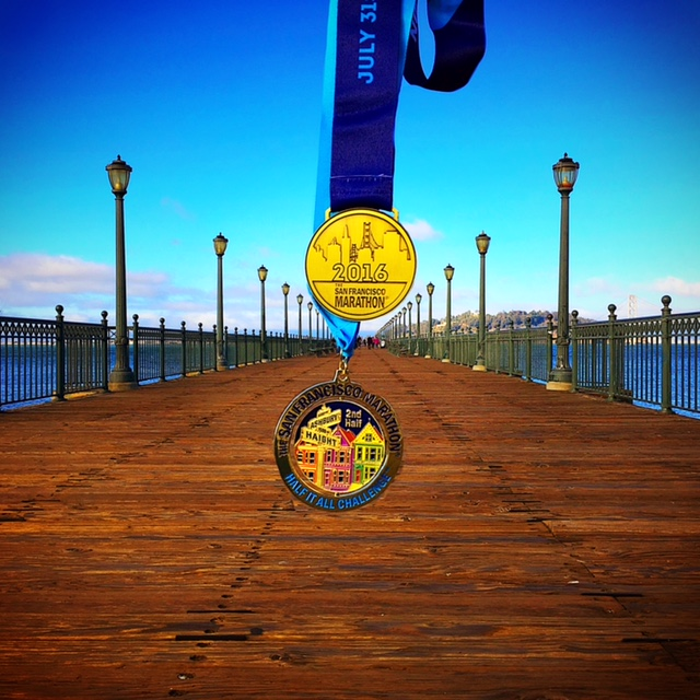 The SF Marathon, Running4thosewhocan't, Orange Mud, XX2i, Lululemon, We Run Social, ProCompression, San Francisco, Half of it All, Challenge, Medals
