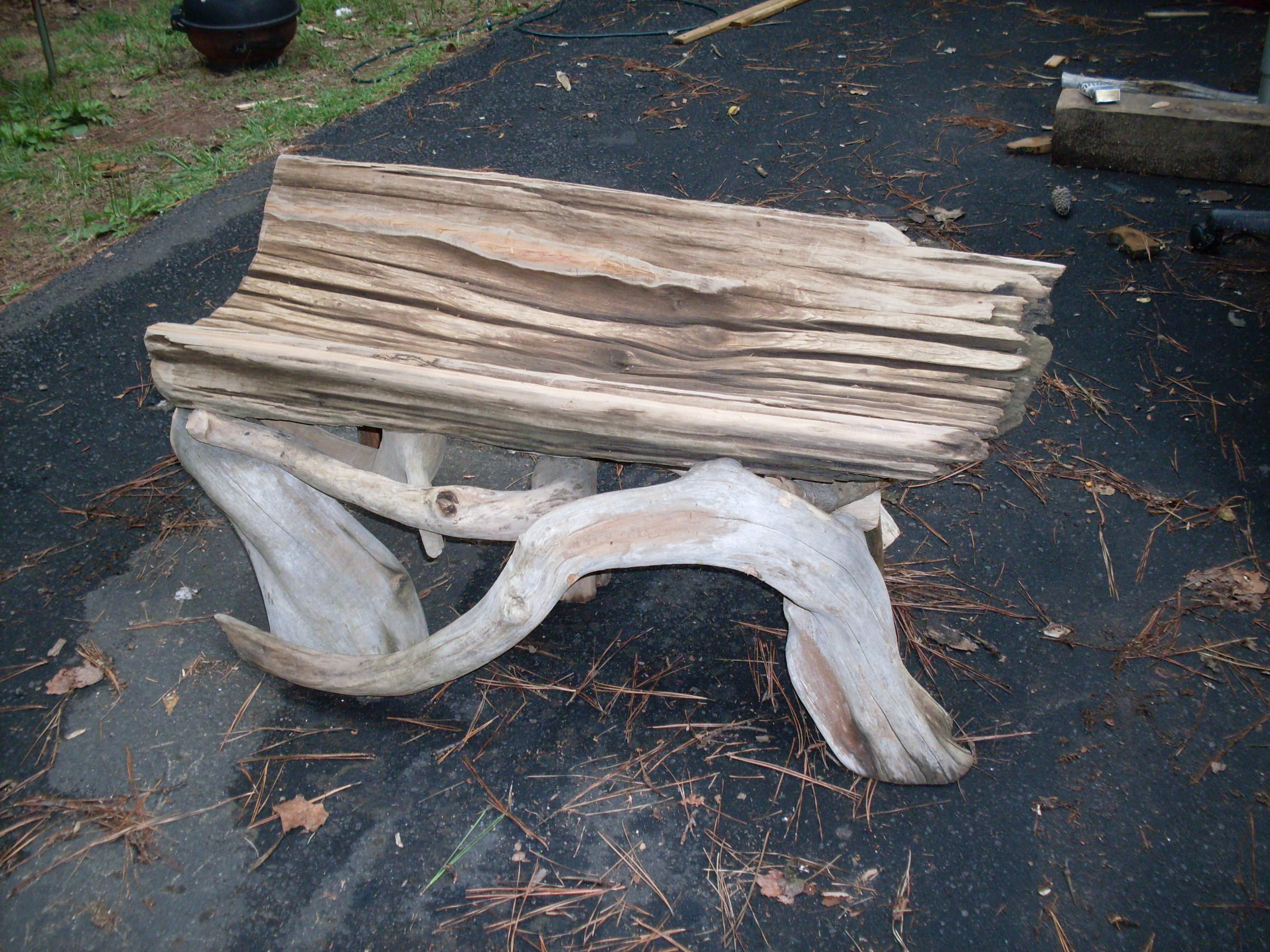 Hollow Tree Driftwood Bench Run Of The Mill Designs