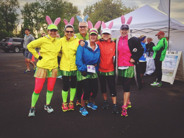 A spirited set of racers prepare to set out and conquer the 2014 Hop Hop Half + 5k.