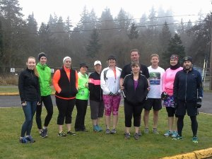 Runners gather at a recent St. Helens Road Runners Club free Saturday Run. (April 2014, courtesy Hyla Ridenauer)